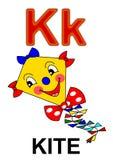 Letter K kite. Alphabet drawing for small school children K kite Royalty Free Stock Image