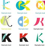 Letter K Logo. Alphabetical Logo Design Concepts. Letter K stock illustration