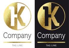 Letter K logo. Golden bright letter K logo royalty free illustration