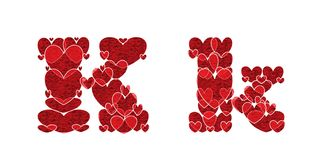 Letter K, made from hearts. Letter K, uppercase and lowercase of alphabet made from hearts Stock Image