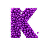 Letter K made of plastic beads, purple bubbles, isolated on white, 3d render Stock Image