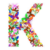 The letter K made up of lots of butterflies of different colors Royalty Free Stock Photos
