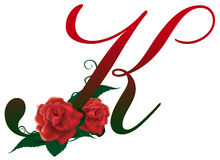Letter K red floral  illustration. Red rose decorated Letter K font , colorful and Royalty Free Stock Photos