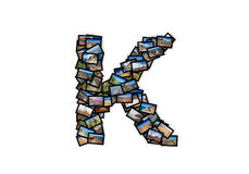 Letter K uppercase font shape alphabet collage Royalty Free Stock Photography