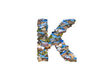 Letter K uppercase font shape alphabet collage Royalty Free Stock Images