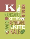 Letter K Words Typography Illustration Alphabet Poster Design Royalty Free Stock Photography