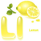 Letter L. Alphabet. English capital and uppercase letter L, stylized color of  lemon  juice. yellow  lemon and slices. vector illustration Stock Photography