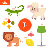 Letter L. Cartoon alphabet for children. Lion, lamb, lamp, leave Stock Photo