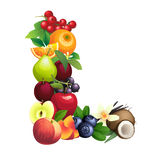 Letter L composed of different fruits with leaves Royalty Free Stock Images