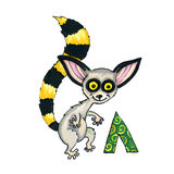 Letter L for Fantasy Cyrillic Alphabet - Azbuka with cute lemur Stock Photography