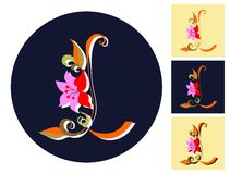 Letter L with flower in four versions. Vector alphabet. Royalty Free Stock Images