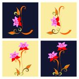 Letter L with flower in two versions and beautiful flowers Stock Photography
