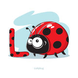 Letter L with funny Ladybug Royalty Free Stock Photo