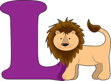 Letter L with a Lion royalty free illustration