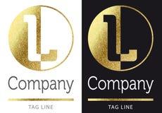 Letter L logo. Golden bright letter L logo vector illustration