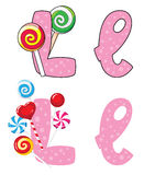 Letter L lollipops Royalty Free Stock Photography