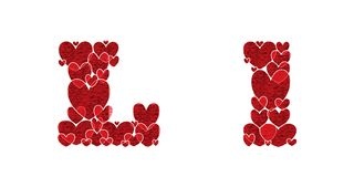 Letter L, made from hearts. Letter L, uppercase and lowercase of alphabet made from hearts Royalty Free Stock Images