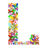 The letter L made up of lots of butterflies of different colors Stock Photo