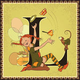 Letter L. Pippi Longstocking Royalty Free Stock Image