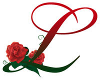Letter L red floral  illustration. Red rose decorated Letter L font , colorful and Stock Image