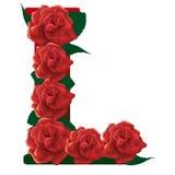 Letter L red roses  illustration Stock Image