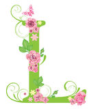 Letter L with roses stock illustration