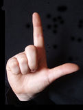 Letter L in sign language. Alphabet letter L in sign language for the deaf Royalty Free Stock Photos