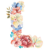 Letter L of watercolor flowers, isolated hand drawn on a white background, wedding design, english alphabet.  Stock Photography