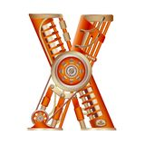 The letter X of the Latin alphabet. The letter X of the Latin alphabet, made in the form of a mechanism with moving and stationary parts on a steam, hydraulic royalty free illustration