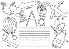 Letter A. Learning English alphabet with pictures. And writing practice for children. Coloring book. Vector illustration stock illustration