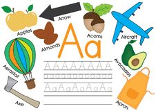 Letter A. Learning English alphabet with pictures and writing practice for children. Vector illustration. Letter A. Learning English alphabet with pictures and stock illustration