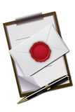 Letter and letter pad with seal Stock Photography