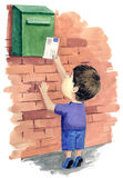 Letter. Little boy sending a letter stock illustration