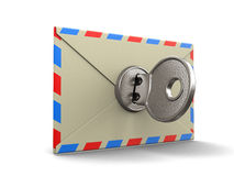 Letter and lock (clipping path included) Royalty Free Stock Images