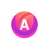 Letter A logo abstract circle shape element. Vector round compan Royalty Free Stock Photo