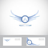 Letter A logo with blue wings Stock Images