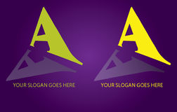 Letter A logo. A letter logo,  business icon on purple background Stock Photo