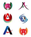 Letter A logo design sample icon set Stock Image