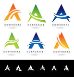 Letter A Logo Designs. Creative abstract vector letter A icons with blue and orange colors vector illustration