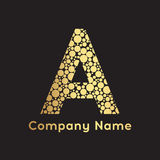 Letter A logo gold bubbles. Abstract gold letter A logo design. Vector illustration vector illustration