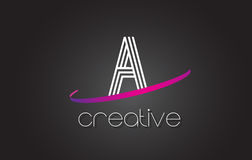 A Letter Logo with Lines Design And Purple Swoosh. Stock Photography