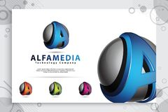 Letter A logo with modern color and 3d style concept. digital illustration of Letter A for business and company royalty free illustration