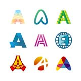Letter A logo set. Color icon templates design. Royalty Free Stock Photos