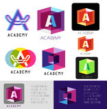 Letter A logo. Template letter A.Academy logo icons. Royalty Free Stock Image