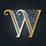 Letter logo W. Vector. ABC. Golden alphabet on a dark background. stock illustration