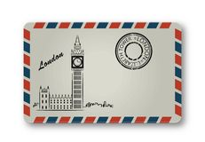 Letter from London with the Tower Elizabeth painted. Stylization. Stock Images