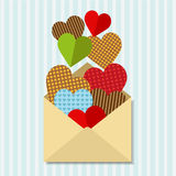 Letter with a lot of hearts Stock Photos