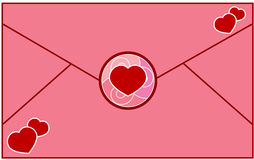 Letter Love. A Envelope with red hearts. Love letter. Vector illustration Stock Photo