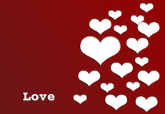 Letter LOVE with white hearts valentine's day Royalty Free Stock Photography