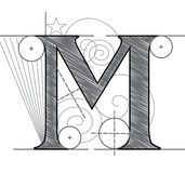 Letter M. Vector Letter M for design in architectural style vector illustration